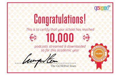 Year 11s reach 10,000 Pods on GCSEPod!