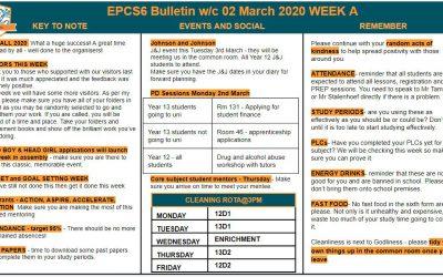 EPCS6 Bulletin w/b 02.03.2020