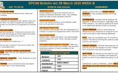 EPCS6 Bulletin w/b 09.03.2020