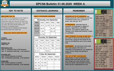 W/c 31.08.2020 Sixth Form Bulletin