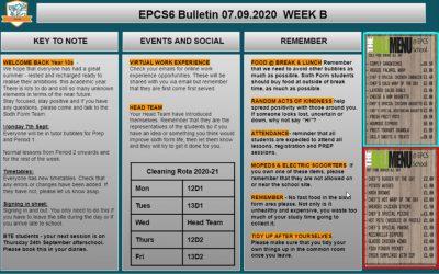 W/c 07.09.2020 Sixth Form Bulletin
