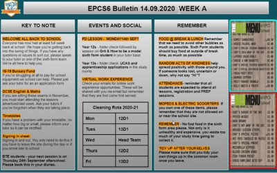 W/c 14.09.2020 Sixth Form Bulletin
