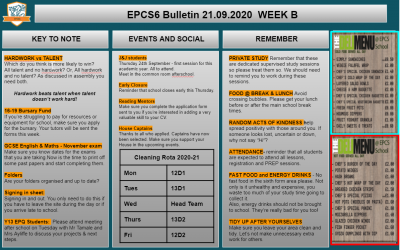 W/c 21.09.2020 Sixth Form Bulletin