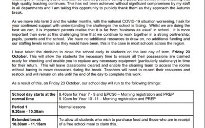 End of Half Term letter – Early finish Friday 23 October