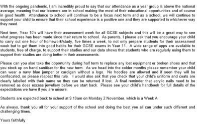 Year 10 End of Term letter