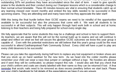 Year 11 End of Term letter