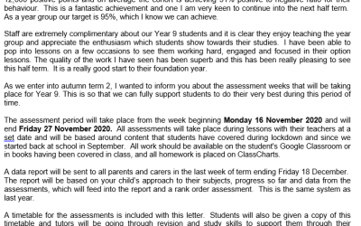 Year 9 End of Term and Assessments