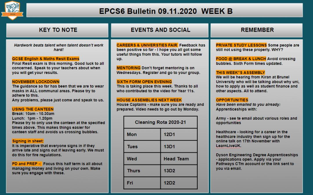 W/c 09.11.2020 Sixth Form Bulletin Week B