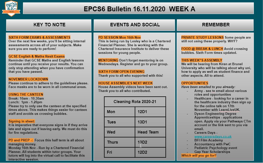 W/c 23.11.2020 Sixth Form Bulletin Week B