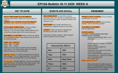W/c 30.11.2020 Sixth Form Bulletin Week A