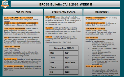 W/c 14.12.2020 Sixth Form Bulletin Week A