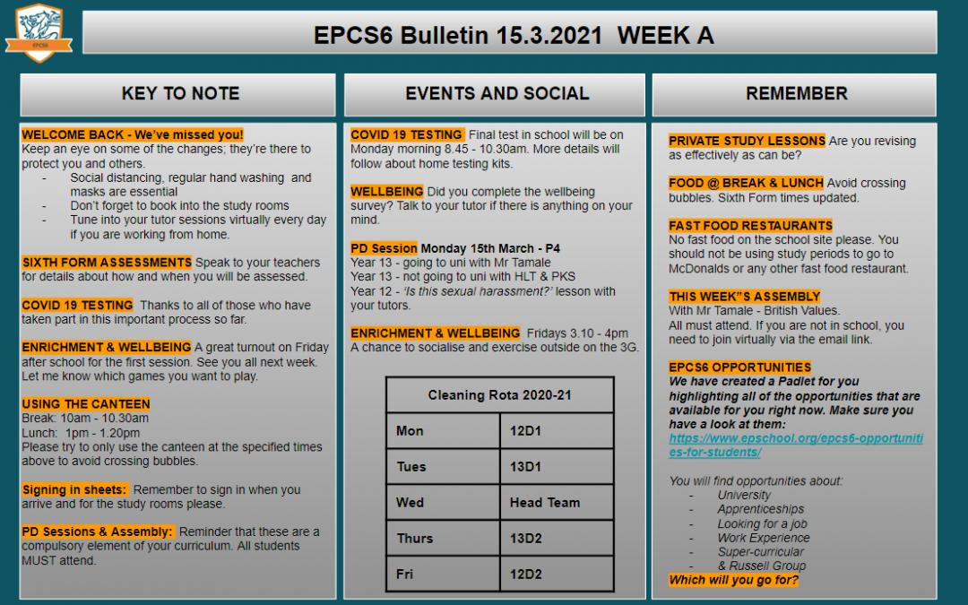 W/c 15.03.2021 Sixth Form Bulletin Week A