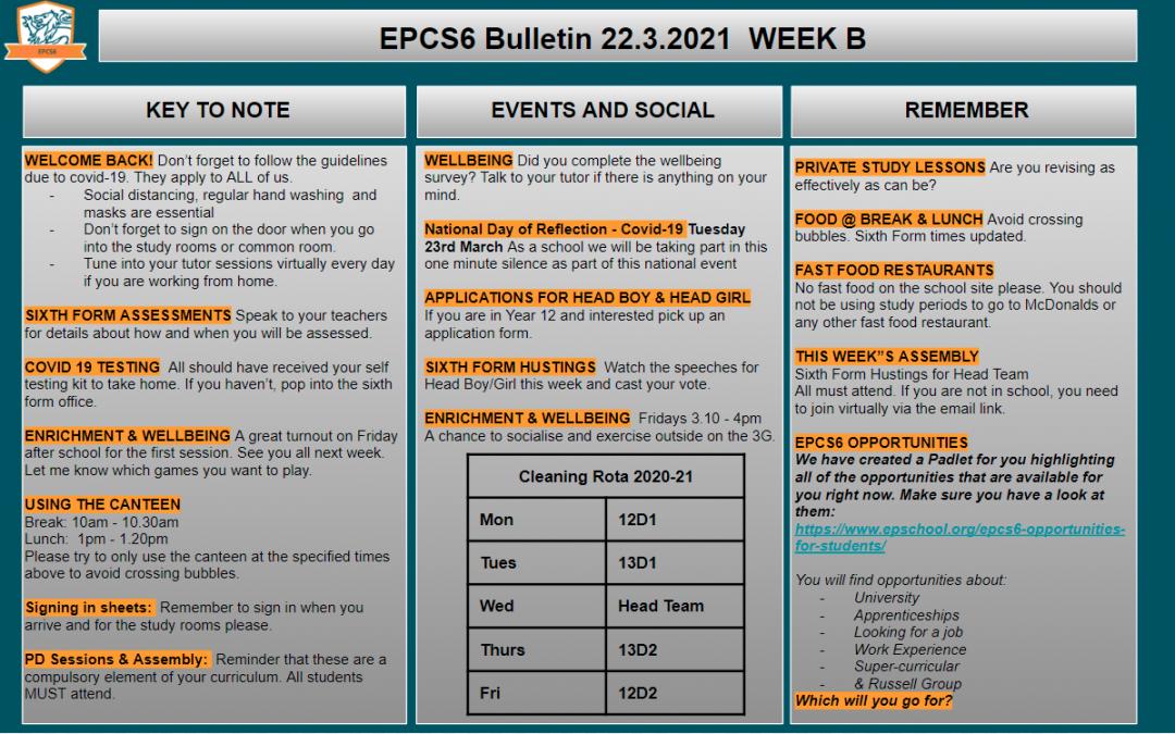 W/c 22.03.2021 Sixth Form Bulletin Week B