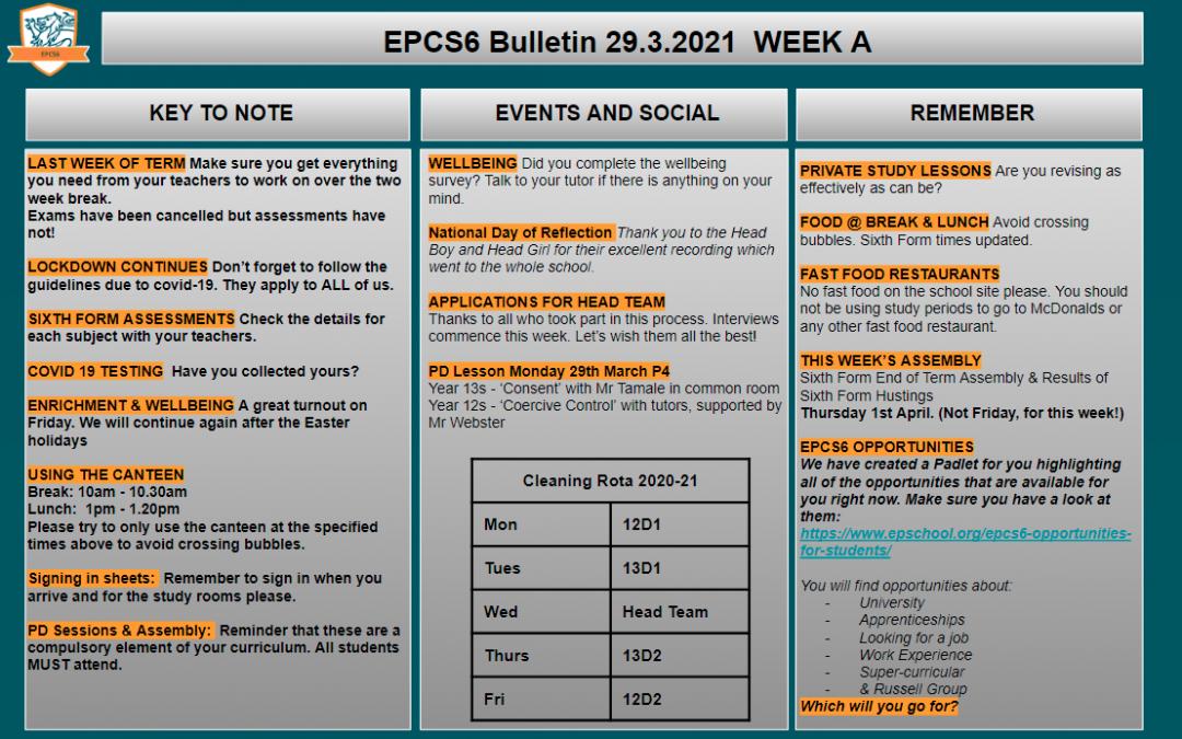 W/c 29.03.2021 Sixth Form Bulletin Week A