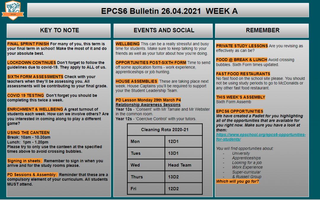 W/c 26.04.2021 Sixth Form Bulletin Week A