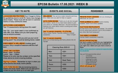 W/c 17.05.2021 Sixth Form Bulletin Week B