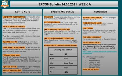 W/c 24.05.2021 Sixth Form Bulletin Week A