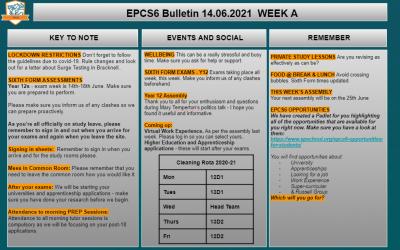 W/c 14.06.2021 Sixth Form Bulletin Week A