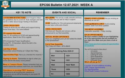 W/c 12.07 Sixth Form Bulletin Week A