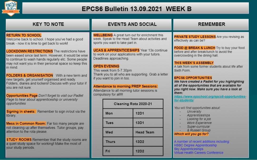 W/c 13.07 Sixth Form Bulletin Week B