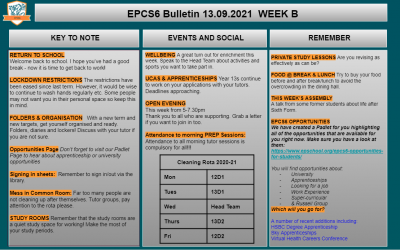 W/c 13.09 Sixth Form Bulletin Week B