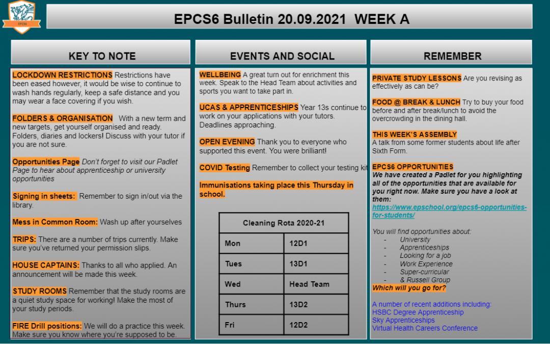 W/c 20.09 Sixth Form Bulletin Week A