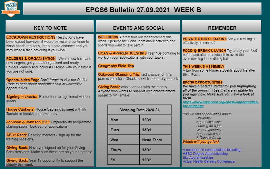 W/c 27.09 Sixth Form Bulletin Week B