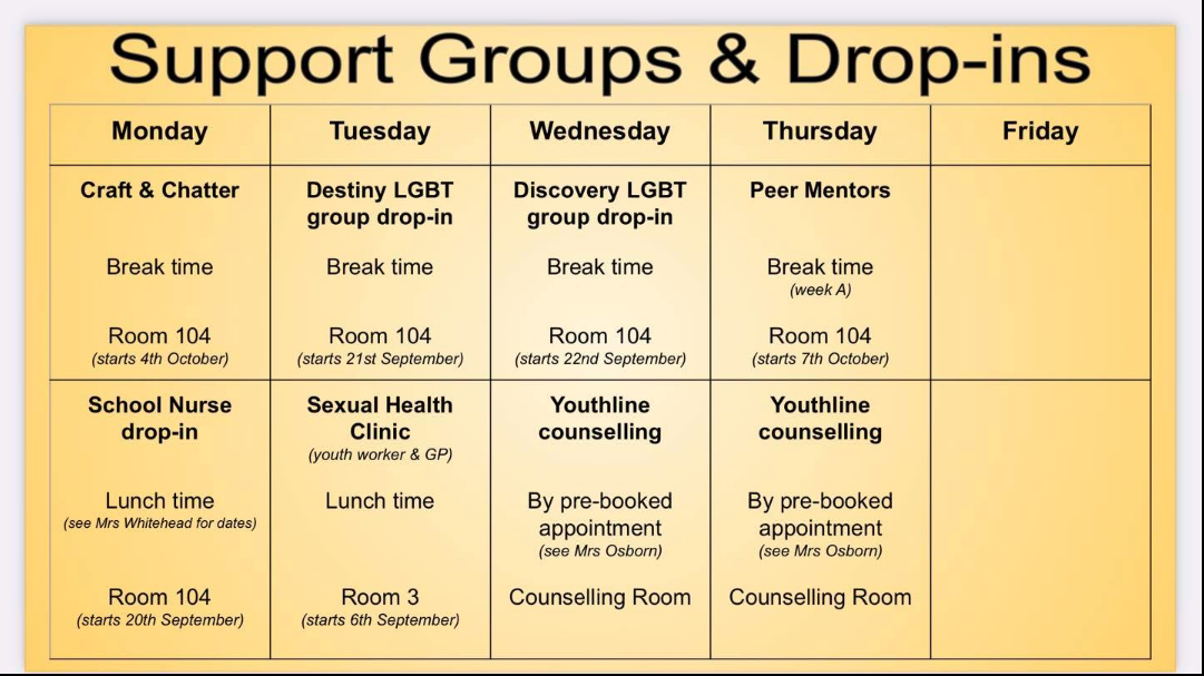 Support Groups & Drop-ins 🙌