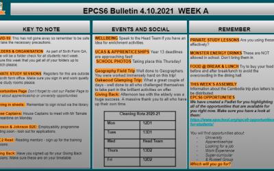 W/c 04.10 Sixth Form Bulletin Week A