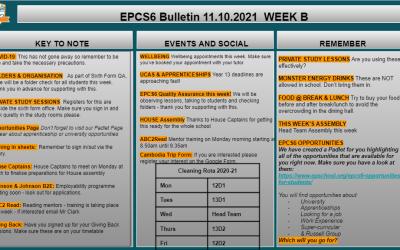 W/c 11.10 Sixth Form Bulletin Week B